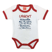 Body bébé urgent échange mes parents blanc/rouge
