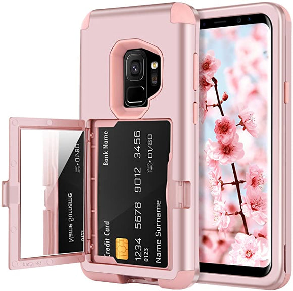 BENTOBEN Wallet Case for Galaxy S9, Shockproof Heavy Duty Rugged 3 in 1 Hybrid Hard PC Cover Soft TPU Bumper