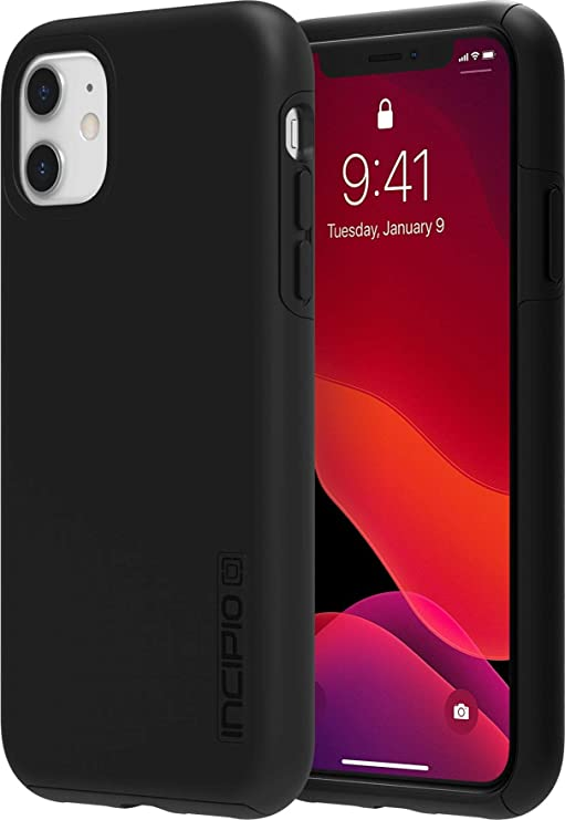 Incipio DualPro Dual Layer Case for Apple iPhone 11 with Flexible Shock-Absorbing Drop-Protection - Black