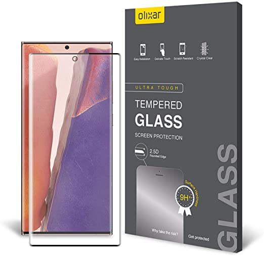 Olixar for Samsung Galaxy Note 20 Screen Protector Tempered Glass - Shock Proof, Anti-Scratch, Anti-Shatter, Bubble Free, Clear HD Clarity Full Coverage Case Friendly - Easy Application