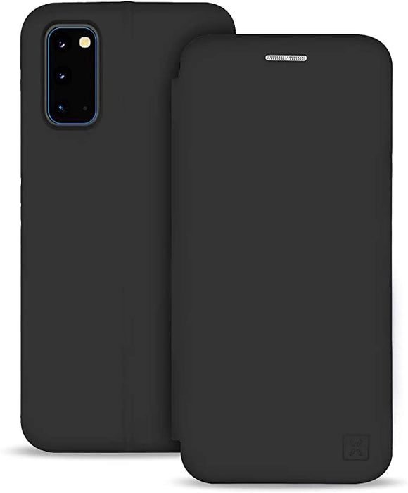 Olixar for Samsung Galaxy S20 Silicone Wallet Case - Soft TPU - Liquid Silicone Flip Cover - Credit Card Storage - Built in Stand - Wireless Charging Compatible - Black