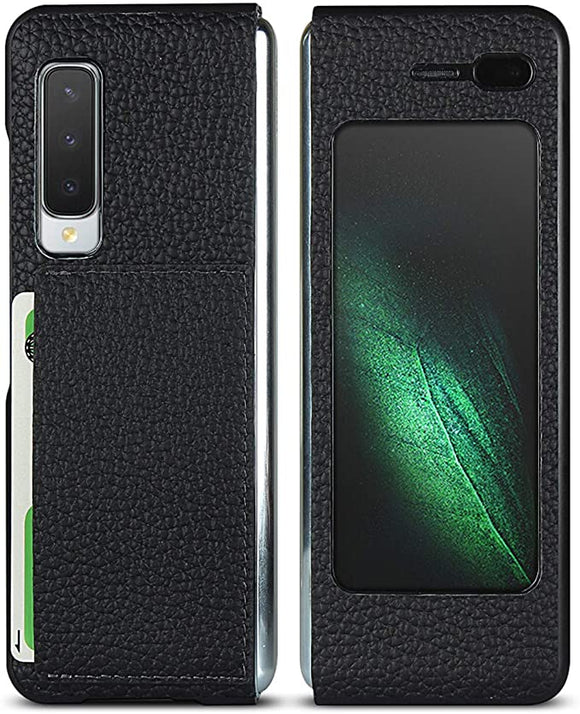 iCoverCase Ultra-Thin Designed for Samsung Galaxy Fold (2019) Genuine Leather Case with Card Slot - (Black)