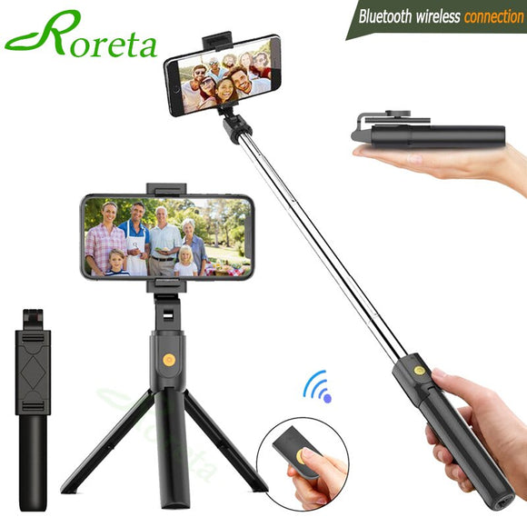 3 in 1 Wireless Bluetooth Selfie Stick Foldable Mini Tripod Expandable Monopod with Remote Control for iPhone IOS Android