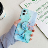Beautiful Marble Holder Phone Case For iPhone Soft Silicon Stand Cover