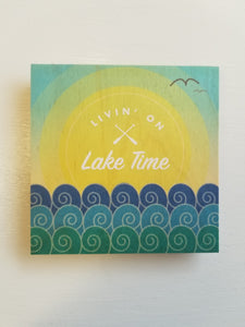 Wood Coaster - Living on Lake Time