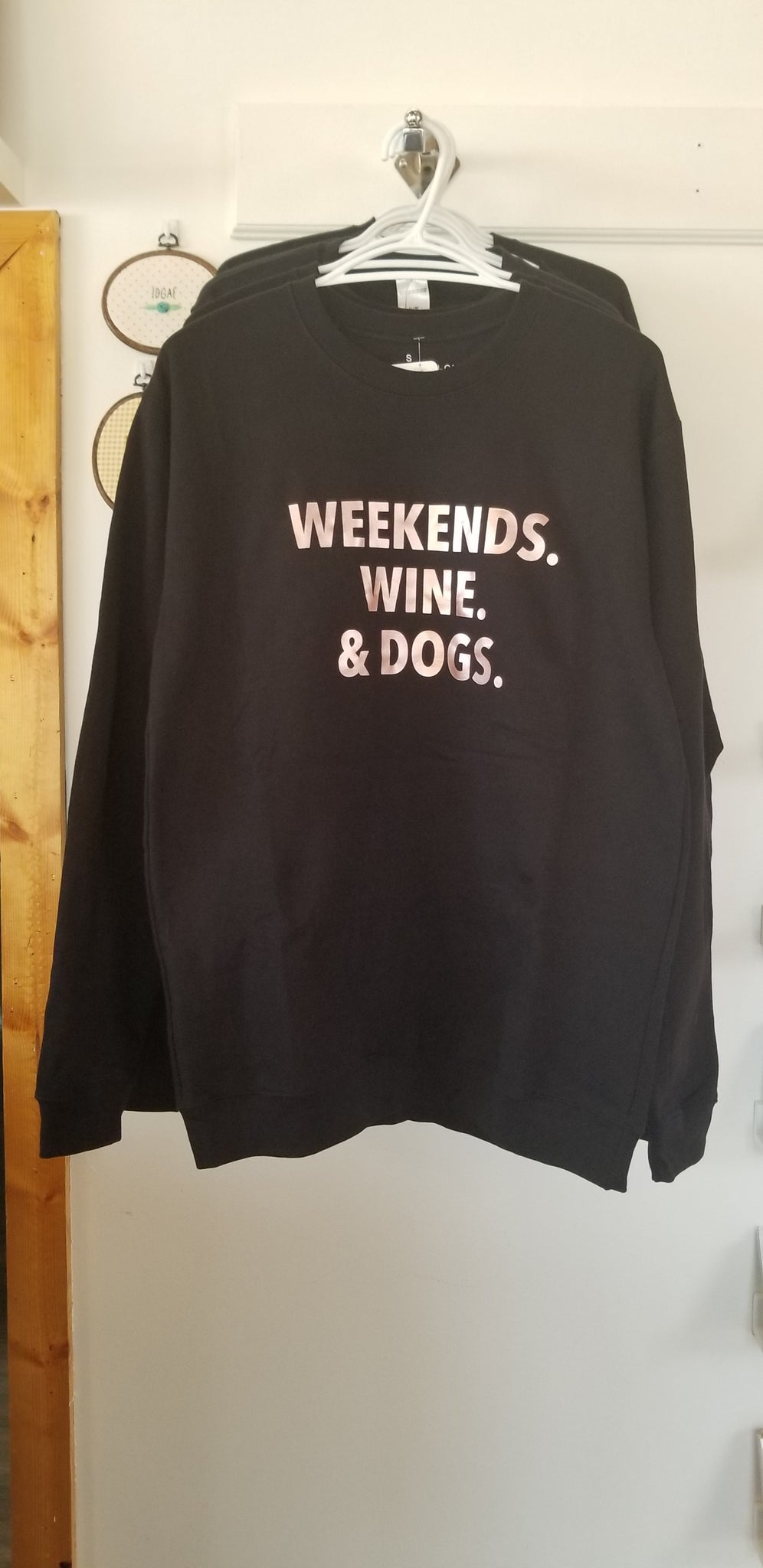 Sweater - Weekends, Wine & Dogs (Black)