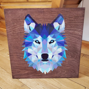 Printed Wood Art - Geo Wolf (Stained) 14'×14'