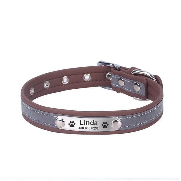 Pet Junxion accessories coffee / XL Neck 41-51cm / International Reflective Leather Personalized Collar