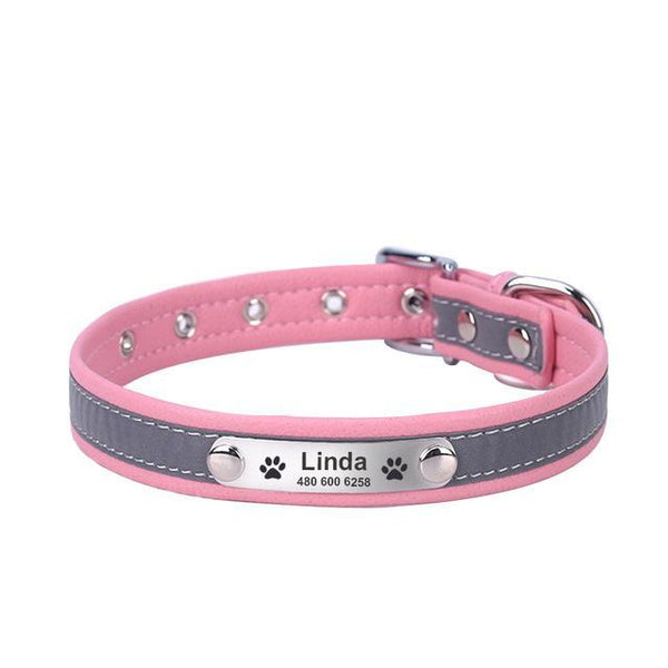 Pet Junxion accessories pink / XL Neck 41-51cm / International Reflective Leather Personalized Collar