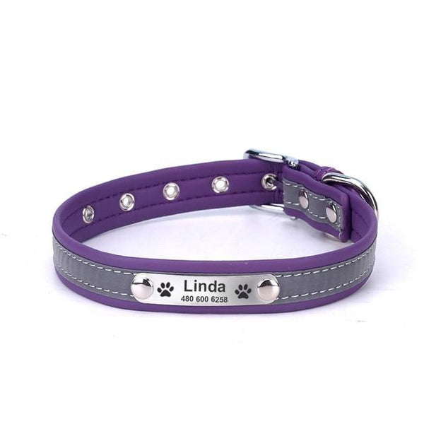 Pet Junxion accessories purple / XXL Neck 46-56 cm / International Reflective Leather Personalized Collar