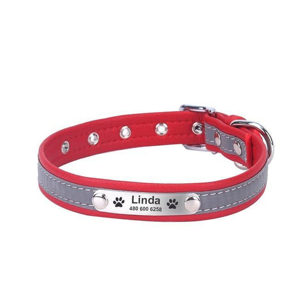 Pet Junxion accessories red / XS Neck 20-26 cm / International Reflective Leather Personalized Collar