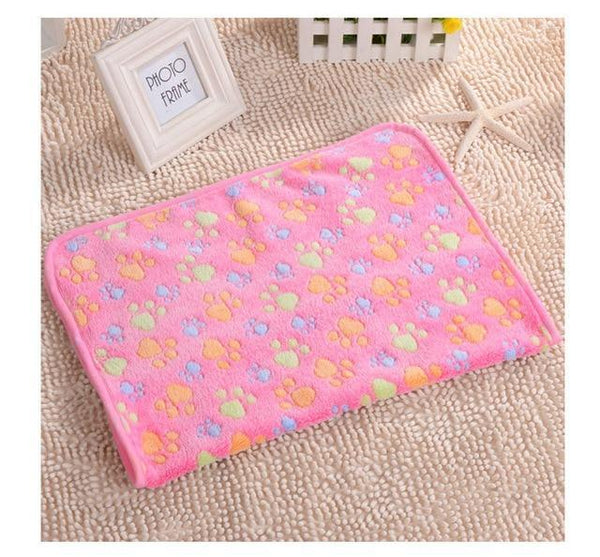 Pet Junxion bed Pink paw / 75X100CM Soft Warm Paw Patterned Fleece Blanket