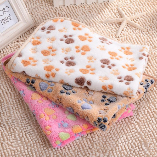 Pet Junxion bed Soft Warm Paw Patterned Fleece Blanket