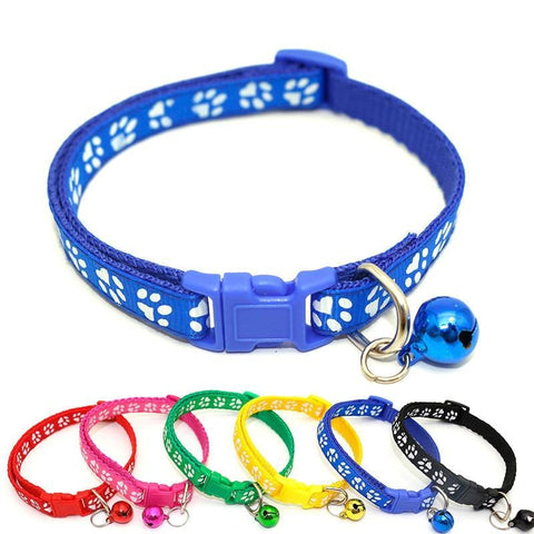 Pet Junxion collar Footprint Nylon Cat Collar  with bell