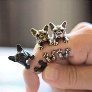 Pet Junxion rings Resizable / Black Gun Plated Retro Handmade French bulldog Ring