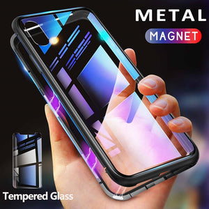 Magnetic Metal Tempered Glass Back iPhone Case