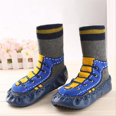 Baby Boy Leather Soled Indoor Socks