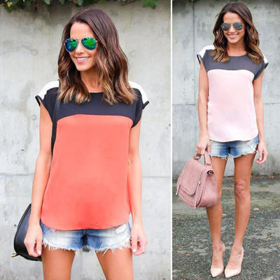 Women Chiffon Tank Tops Orange Pink Shirt