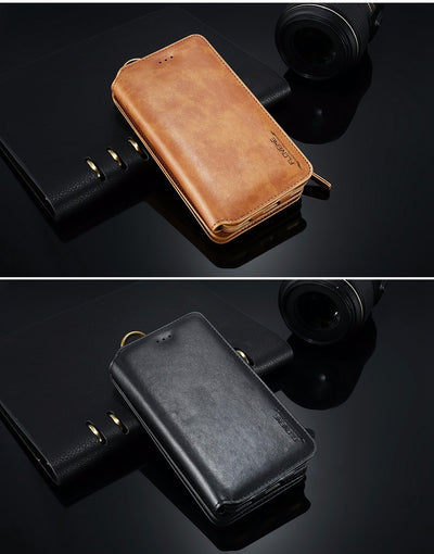PU Leather Case For iPhone X 8 7 6s 6 Plus 5 5s SE Retro Wallet Cover