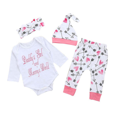 Newborn Infant Baby Girl Letter Romper Top+Pants+Hat Outfits Clothes Set