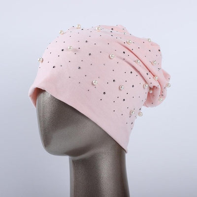 Polyester Shine Pearls & Rhinestones Beanies For Women