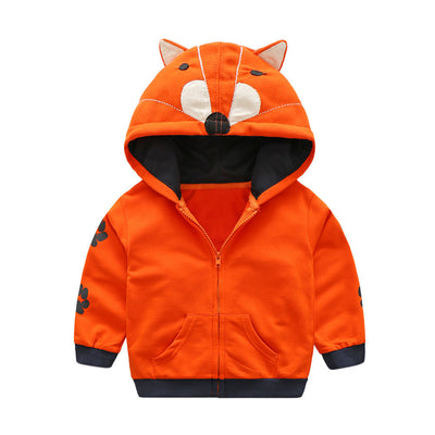 Cartoon Animal Pattern Zipper Hooded Jacket