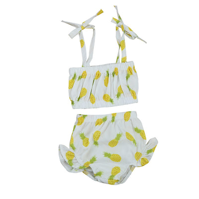 Cute Baby Girl Pineapple printing Ruffle Swimsuit