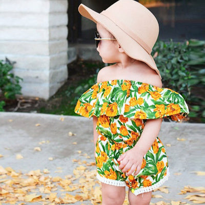 Off Shoulder Toddler Baby Girl Jumpsuit