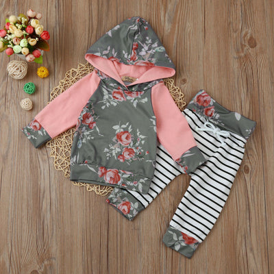 Baby Boy Girl Floral Stripe Hoodie Tops+Pants Outfit Clothes Set