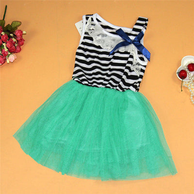Summer Princess Striped Sleeveless Dress for Girls