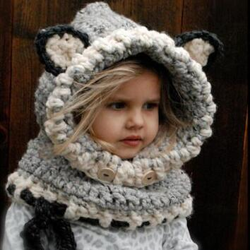 1-7 Years Baby Girls Hats Handmade Winter Hats Wrap Fox Scarf Cap