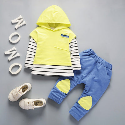 Outfits Hooded Stripe T-shirt Tops+Pants Clothes Set