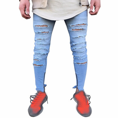 Men's Stretchy Ripped Skinny Taped Slim Fit Denim Pant