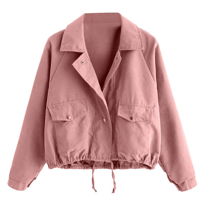 Women Autumn Fashion Short Pink Button Pocket Jacket