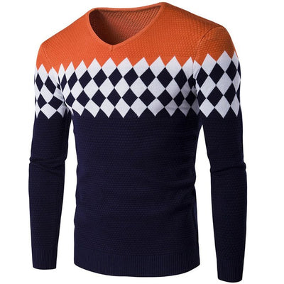 Men V Neck Sweater Long Sleeve