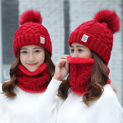 Big Fur Pom Poms Ball Knitted Hat Scarf