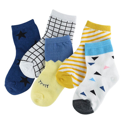 5 Pair/lot New Soft Cotton Boys Girls Socks