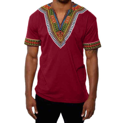 Men's Slim Fit V Neck Printed Muscle T-shirt