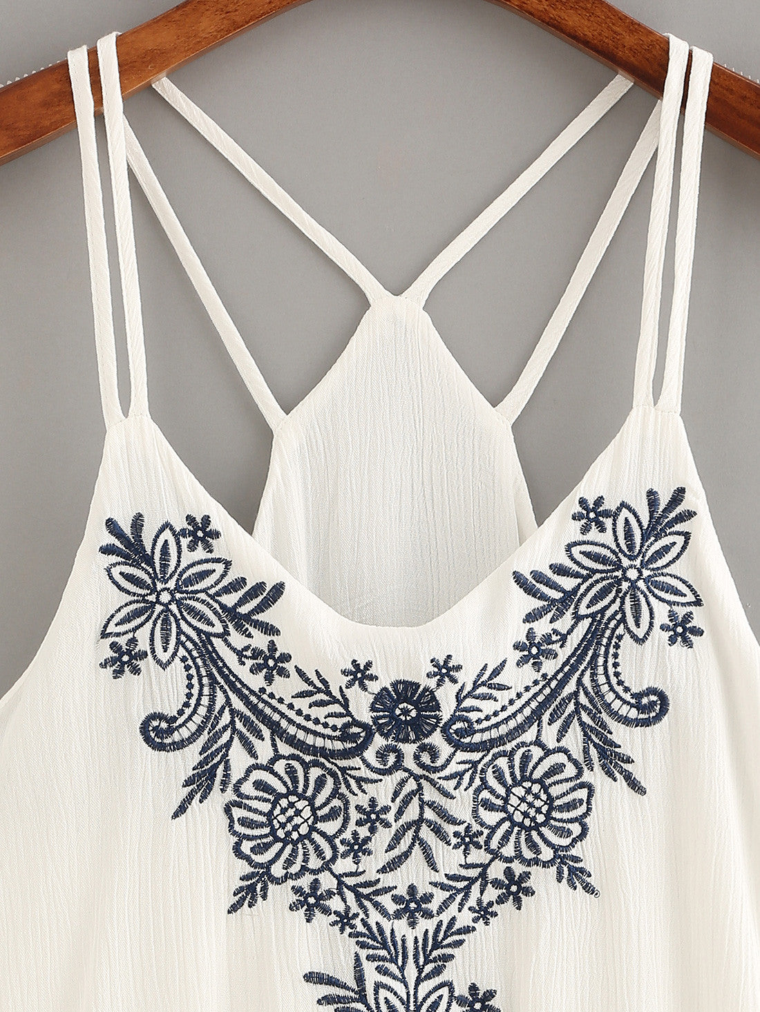 fd57b77978b37d Women Tank Tops Flower Embroidered Strappy Cami Top