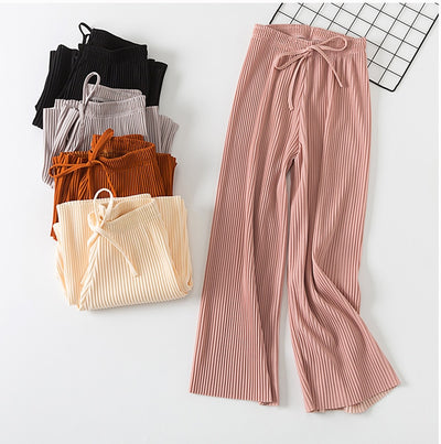 High Waist Chiffon Korean Fashion Casual Pants