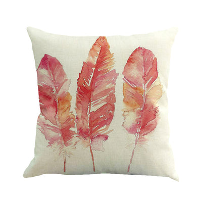 Feather Painting Linen Throw  Pillowcases