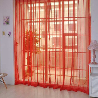 Pure Color Tulle Door Window Curtain