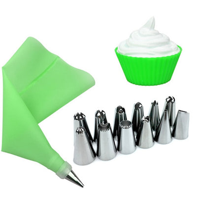 14PCS/Set Silicone Icing Piping Cream Pastry Bag