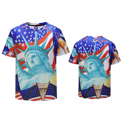 Men Statue of Liberty Print Short Sleeve Summer Tops
