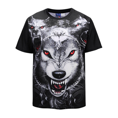 Men's Casual Round Collar Wolf Printed Shirts