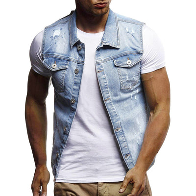 Men's Autumn Winter Destroyed Vintage Denim Jacket Waistcoat