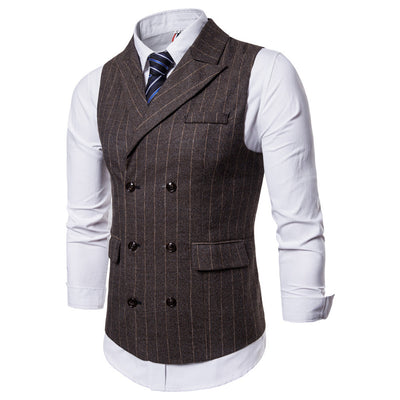 Men Striped Casual Printed Sleeveless Jacket Coat