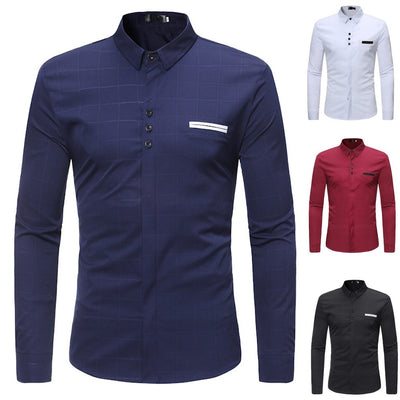 Men's Shirts Slim Plaid Summer Casual T-shirt