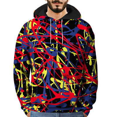 Mens 3D Printed Graffiti Pullover Long Sleeve Hooded Sweatshirt