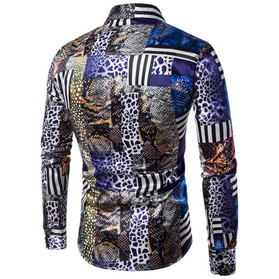 Men's Casual Personality Slim Long Sleeve Printed Shirt Top Blouse